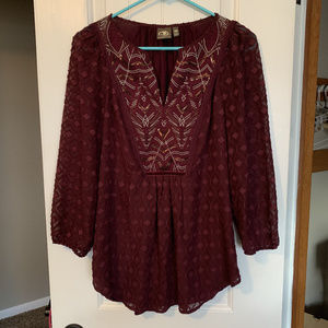 Embroidered Anthropologie blouse, LIKE NEW, XS